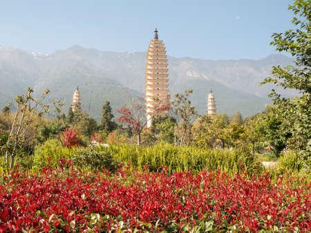 three pagodas Dali, China photo