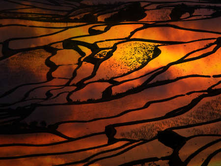 Sunset at terraced rice fields, China Stock Photo - 11763315