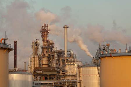 refinery with smoke