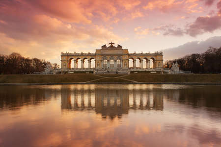 the gloriette: Gloriette Vienna at dusk