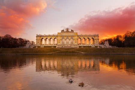 Gloriette Vienna at dusk