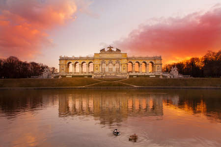 place of interest: Gloriette Vienna at dusk