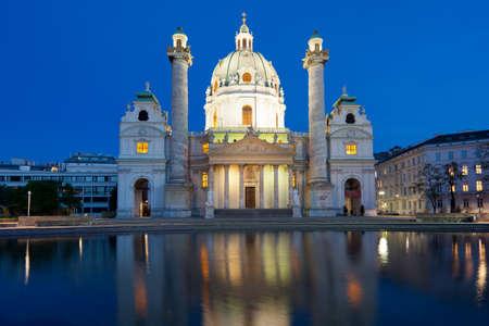 st charles: Chiesa di San Carlo al tramonto Archivio Fotografico