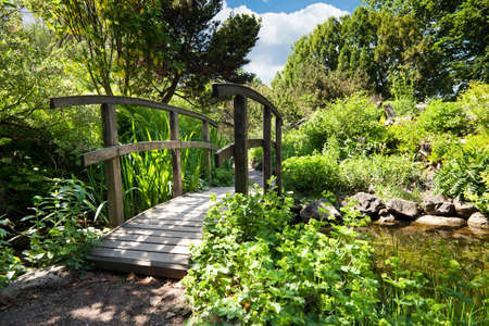 ponte giapponese: giardino con laghetto e ponticello