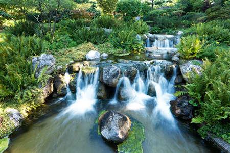 japanese garden with waterfall Stock Photo