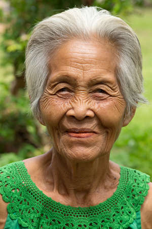 gray haired: old asian women Stock Photo