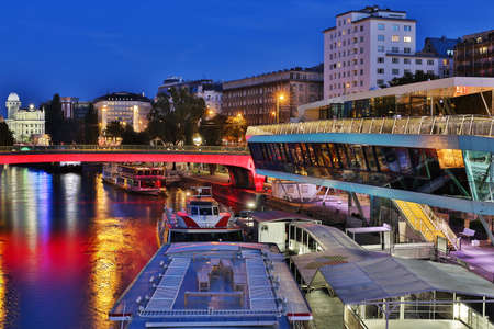 innere: Vienna at night, danube canal, pier near Schwedenplatz in central Vienna