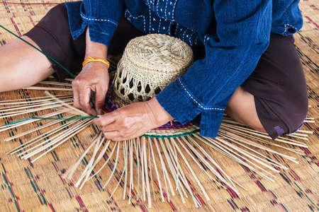straw hat: Manufacture straw hat Stock Photo