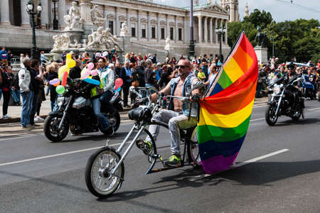 transgender: Vienna, Austria - Juni 20, 2015: Lesbian, gay and transgender people celebrate their importent event on the Ringstrasse of Vienna for solidarity, acceptance and equality. The Rainbow Parade is part of Vienna Pride.