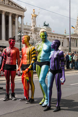 Vienna Austria  Juni 20 2015: Lesbian gay and transgender people celebrate their importent event on the Ringstrasse of Vienna for solidarity acceptance and equality. The Rainbow Parade is part of Vienna Pride.
