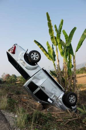 Car Crash With Banana Tree Stock Photo