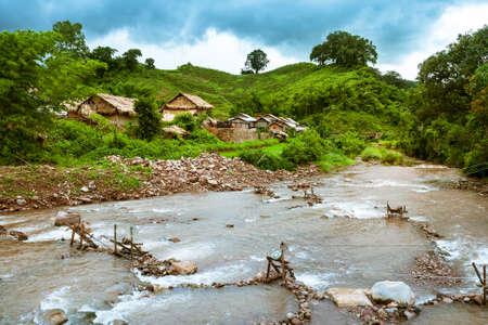 Mountain Village Laos Stock Photo