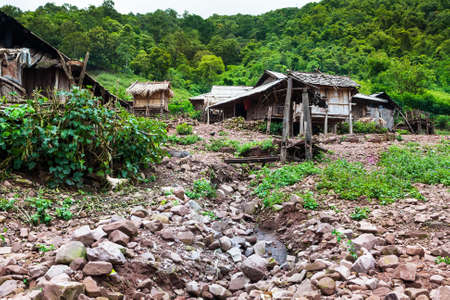 Mountain Village Laos Stock Photo