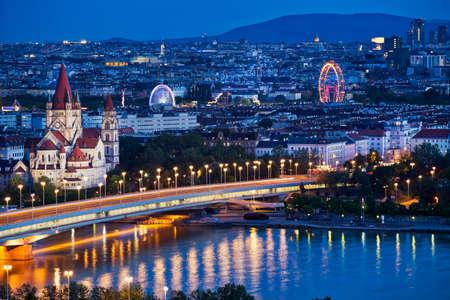 Vienna Panoramic At Night Editorial