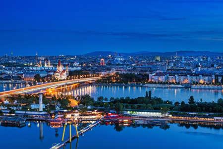 Vienna Panoramic At Night Imagens