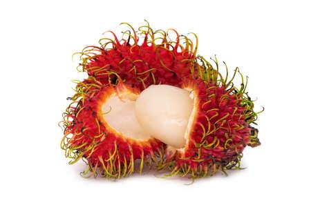 Rambutan Fruit, close up of tropical fruit on white background