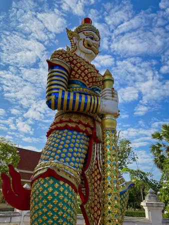 Yaksha Thailand, golden figurine is guardian of buddhist temple