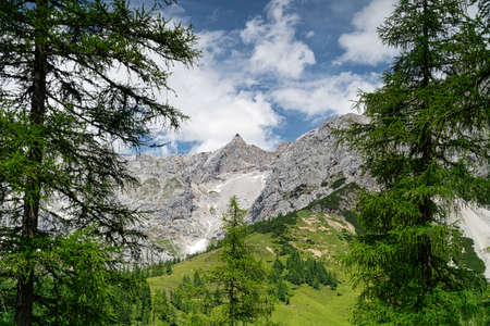 Dachstein Mountains, landscape of european alps in summer