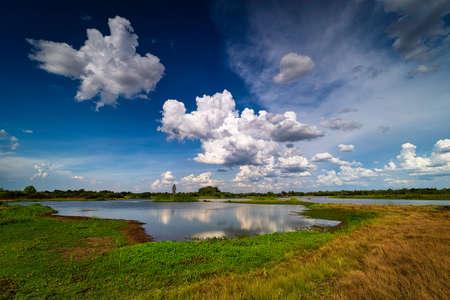 Landscape Lake Reflection Clouds, idyllic water with cumulus clouds Standard-Bild