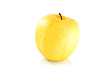 Single yellow apple isolated on the white background