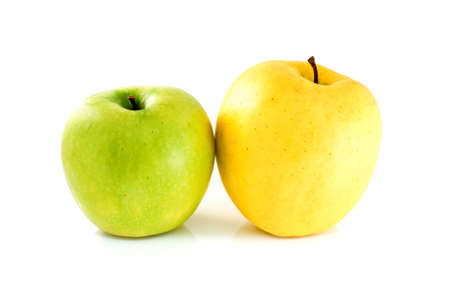 Green and yellow apples isolated on the white background