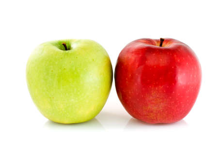 Green and red apples isolated on the white background