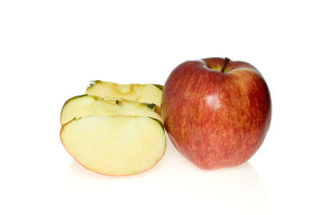 pome: One whole red apple and few slices isolated on the white background