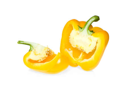 Two pieces of yellow sweet pepper isolated on the white background photo