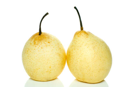 Pair of yellow pears isolated on the white background photo