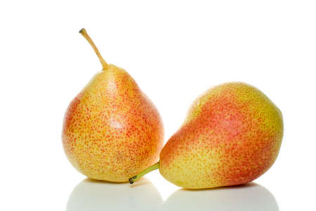 Pair of spotty yellow-red pears isolated on the white background