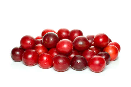 alycha: Pile of red cherry plums isolated on the white background Stock Photo