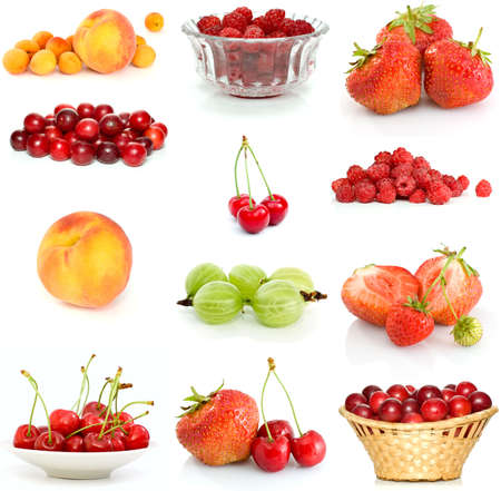 Set of different berries isolated on the white background photo