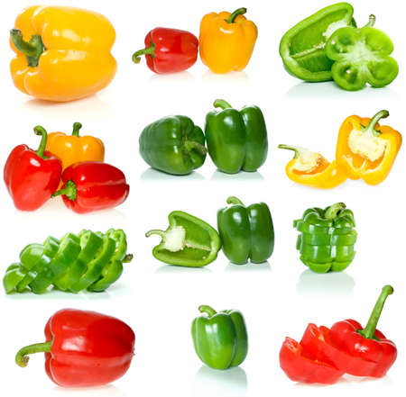 Set of different sweet peppers isolated on the white background