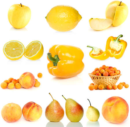 Set of yellow fruit, berries and  vegetables isolated on the white background photo