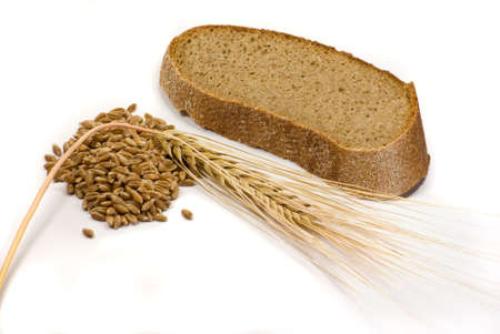 thrashed: Barley grains, ear and piece of bread isolated on the white background Stock Photo