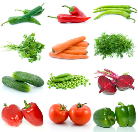 Set of different vegetables isolated on the white background Stock Photo