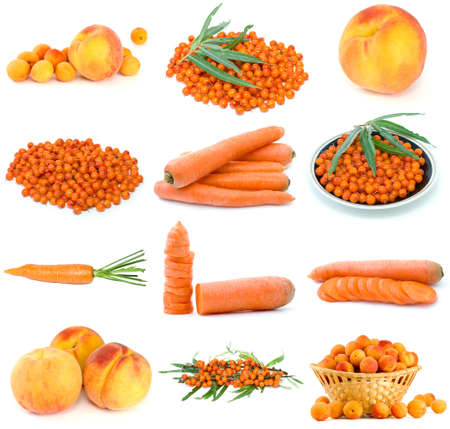 Set of orange fruits, berries and vegetables isolated on the white background photo