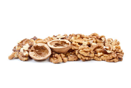 nutshells: Walnuts kernels and nutshells isolated on the white background