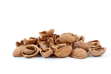nutshells: Nutshells isolated on the white background Stock Photo