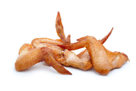 Some smoked chicken wings isolated on the white background