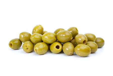 Pile of green pitted olives isolated on the white background Stock Photo