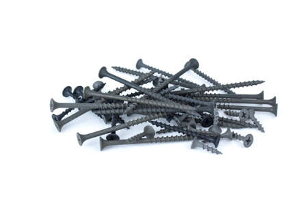 woodscrew: Pile of different wood-screws isolated on the white background
