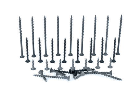 woodscrew: Some different screws isolated on the white background