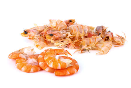 shelled: Some shelled shrimps and shells isolated on the white background