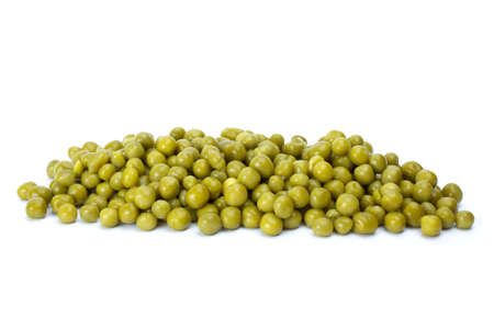 conserved: Small pile of conserved green peas isolated on the white background