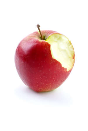 nibble: Apples with piece bitten off isolated on the white background Stock Photo