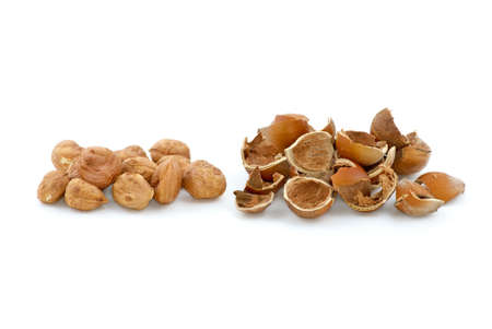 avellan: Pile of shelled hazelnuts and shells isolated on the white background