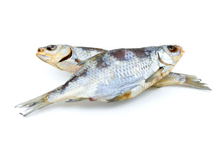 rutilus: Two salted sea roach fishes isolated on the white background