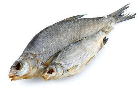 abramis: Dried bream and sea roach fishes isolated on the white background Stock Photo