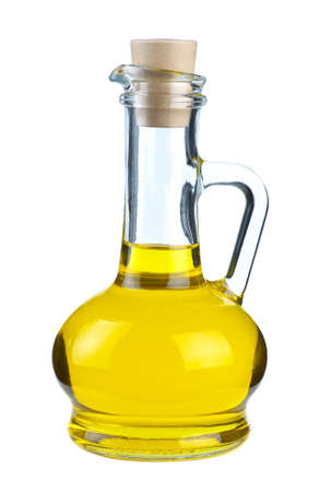 Small decanter with olive oil isolated on the white background Stock Photo